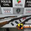 Polícia Civil apreende armas e droga após avistar homem portando espingarda em Aparecida