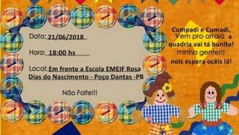 Poço Dantas-PB: Escola Rosa Dias do Nascimento realiza o V Arraiá da Rosa.
